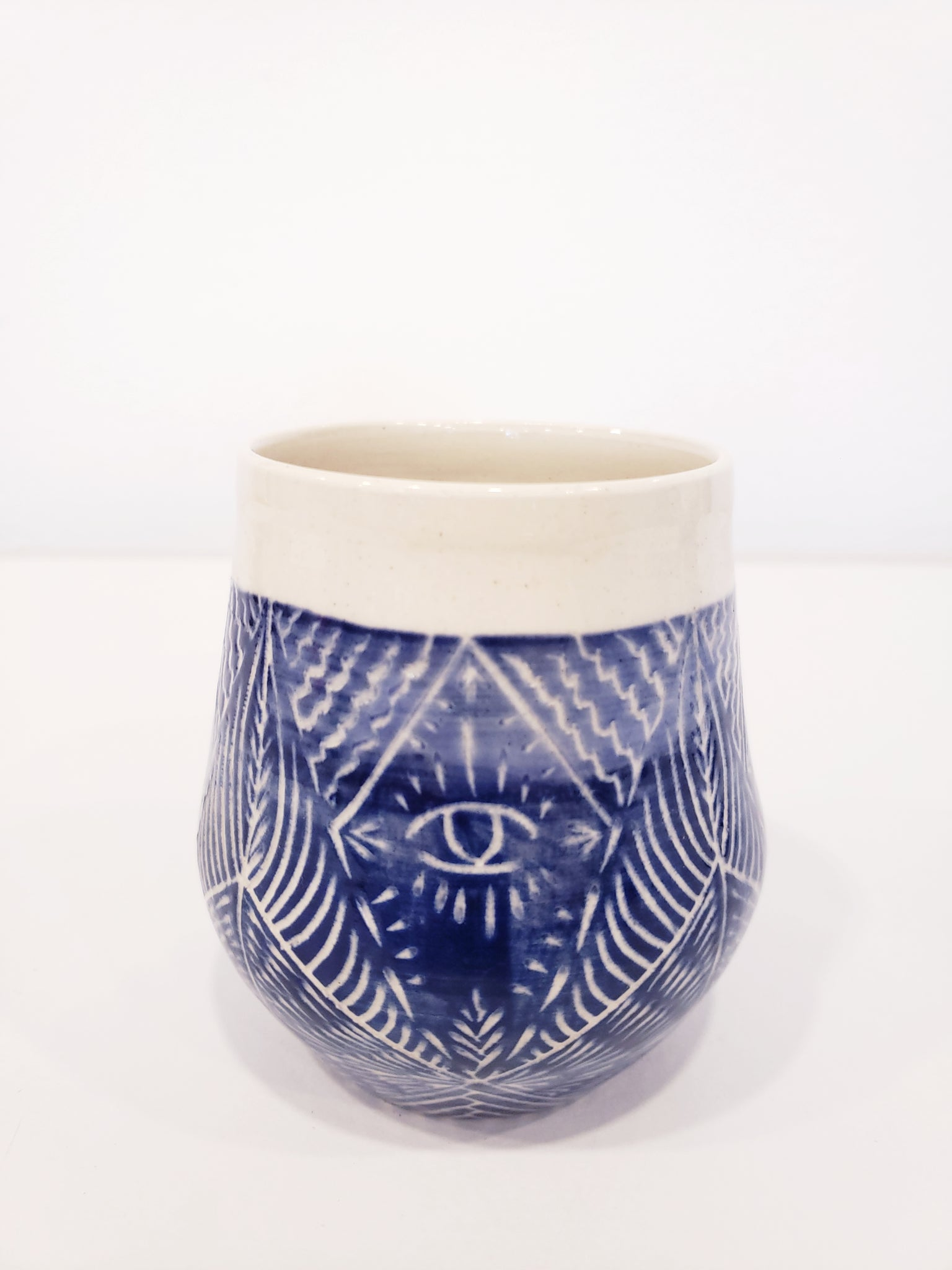 Hand Etched Ceramic Tumbler-Blue - 318 Art and Garden