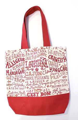 Louisiana Words Tote Bag