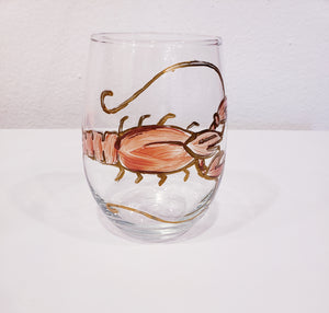Handpainted Crawfish Stemless Wine Glasses