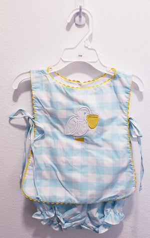 Pelican Gingham Bloomer Set- 9 month