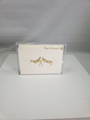 Gold Masquerade Folded Note Cards-10 Count