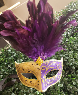 Child Purple & Gold Half Mask With Feathers