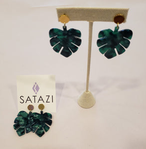 Monstera Leaf Acetate Earrings - 318 Art and Garden