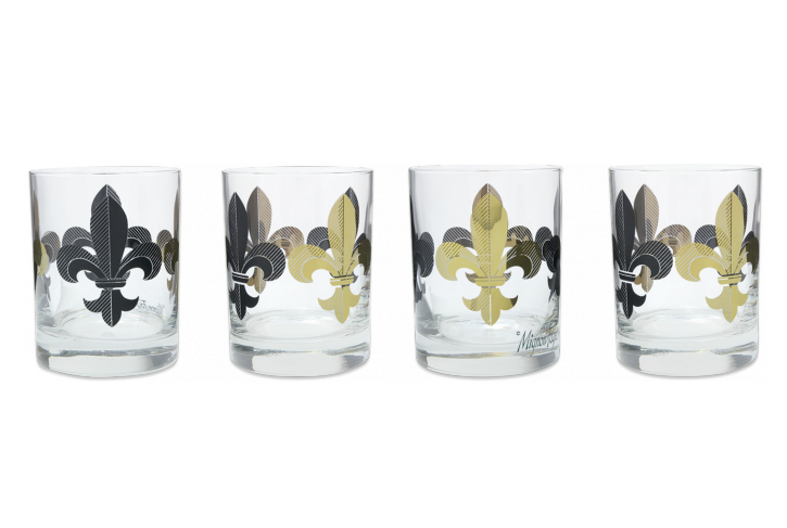 Fleur de Lis Black and Gold Glass - 318 Art and Garden