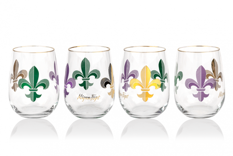 Mardi Gras Fleur de Lis Stemless Wine Glass - 318 Art and Garden