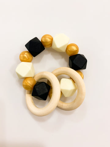 Black and Gold Gameday Teether