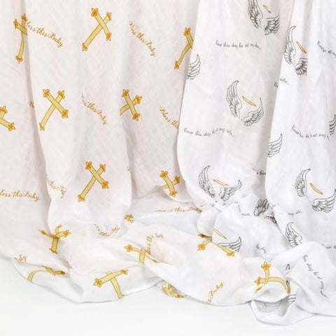 Bless This Baby 2-pack Swaddle Blankets - 318 Art and Garden