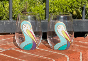Blue Pelican Stemless Wine Glass