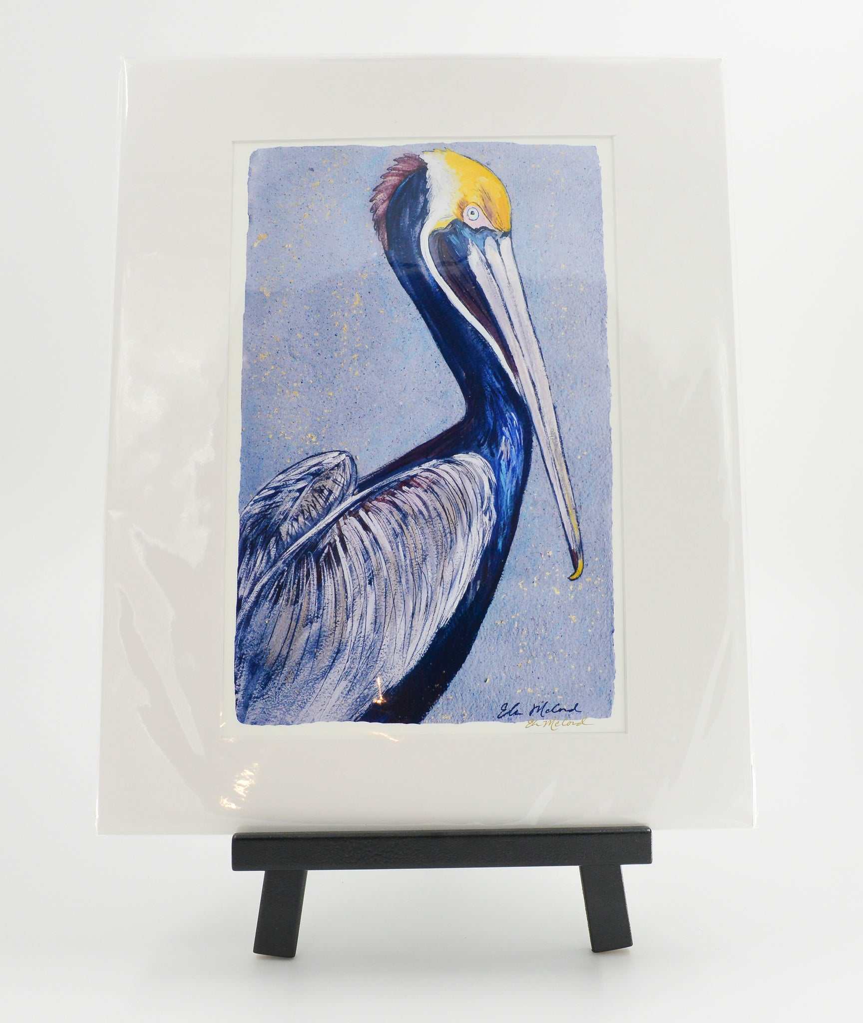 """Pelican in Blue"" 16X20 Matted Print - 318 Art and Garden"
