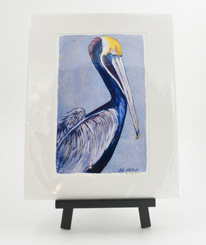 """Pelican in Blue"" 16X20 Matted Print"
