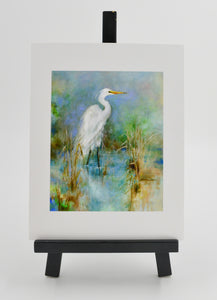 """Great White Egret""8x10 Print Doubled Matted in 18x24 Frame - 318 Art and Garden"