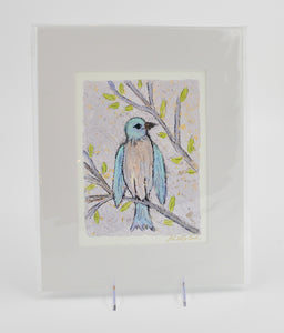 Prints-11x14 Matted-Blue Bird - 318 Art and Garden