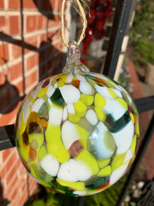 Green and White Glass Ornament - 318 Art and Garden