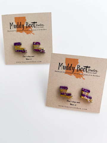 Louisiana Map Mud Stud Earrings