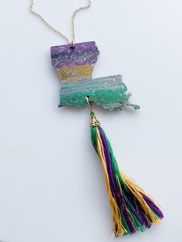 Louisiana Map Tassel Mud Necklace