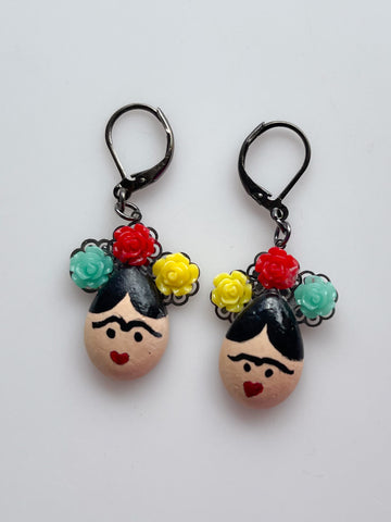 Frida Kahlo Mud Dangle Earrings