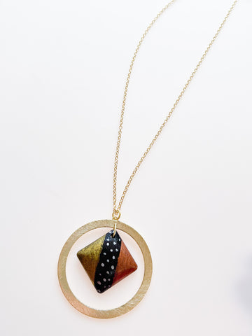 Black and Gold Geometric Mud Necklace