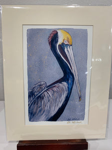 """Pelican in Blue"" 11""X 14"" Matted Print - 318 Art and Garden"