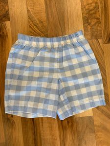 Periwinkle Gingham Pull-On Shorts - 318 Art and Garden