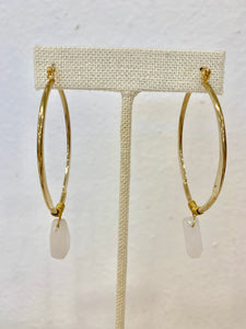 Gold Hoops with Stone Earrings - 318 Art and Garden
