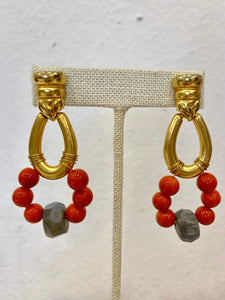 Orange and Labradorite Earrings - 318 Art and Garden