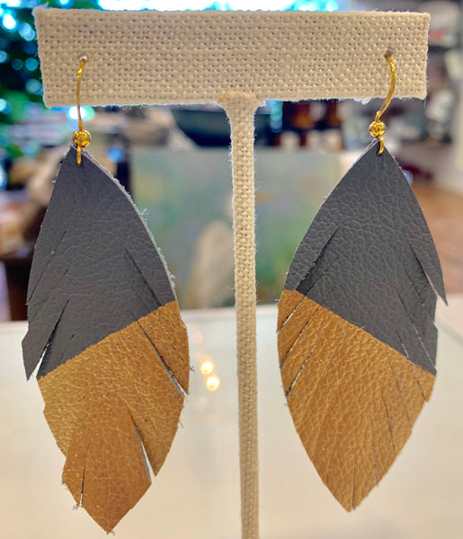 Neutral Leather Earrings - 318 Art and Garden