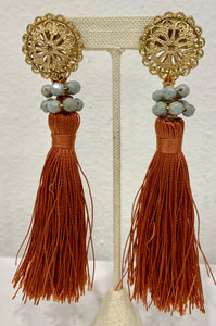 Vintage Rust Tassel Earrings - 318 Art and Garden