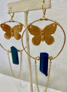 Large Hoops with Butterfly and Blue Quartz Earrings - 318 Art and Garden