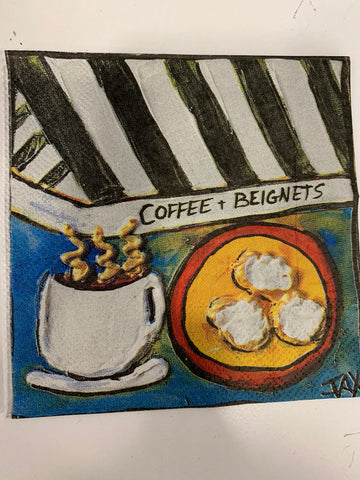 Coffee and Beignets Cocktail Napkins - 318 Art and Garden