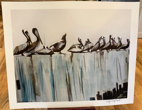 """Pelicans on the Pier"" Prints - 318 Art and Garden"