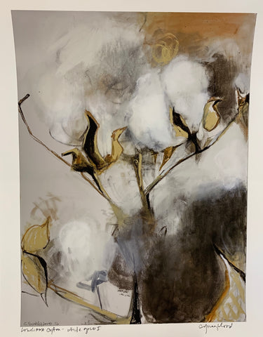 """LA Cotton White/Gold"" Print - 318 Art and Garden"