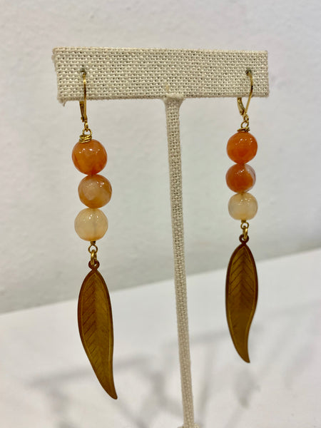Gold Leaf with Triple Glass Bead Earrings - 318 Art and Garden