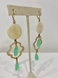 Seashell and Green Stone Drop Earrings - 318 Art and Garden