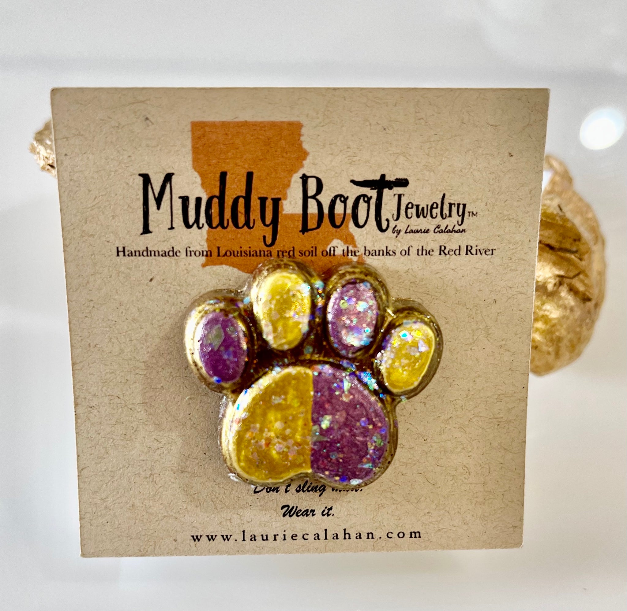 Purple and Gold Muddy Paw Brooch