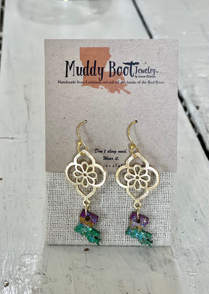 Louisiana Map Mud Dangle Earrings