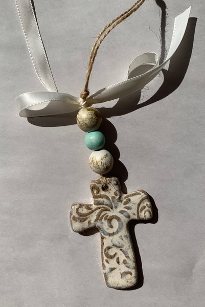 Cross Ornament with Wooden Beads - 318 Art and Garden
