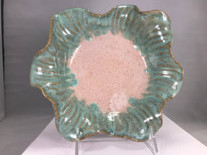 "Fluted/Scalloped Small Sea-mist Bowl 8.5""X8.5"" - 318 Art and Garden"