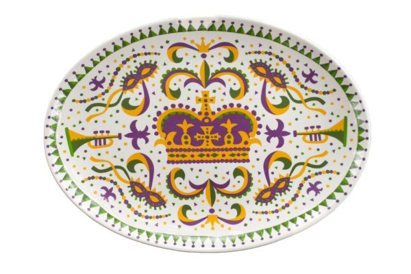 Oval Mardi Gras King Cake Platter - 318 Art and Garden