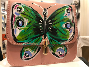 Hand Painted Handbag Pink Medium with Green Butterfly