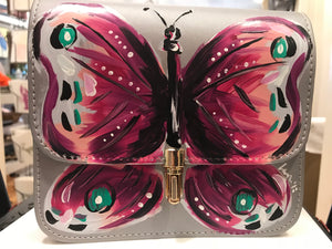 Lauren Ross- Silver Medium Hand Painted Handbag with Purple Butterfly