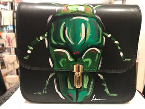 Black Medium Hand Painted Handbag with Green Beetle