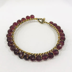 Large Bangle w/Purple Stones - 318 Art and Garden