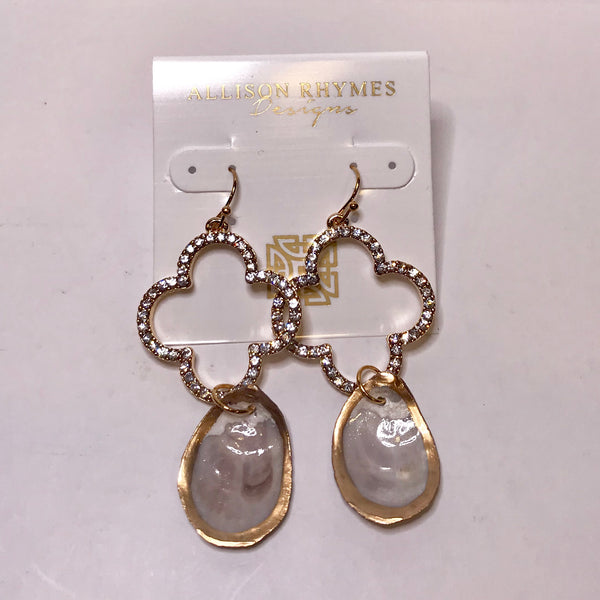 Oyster Crystal Statement Earrings - 318 Art and Garden