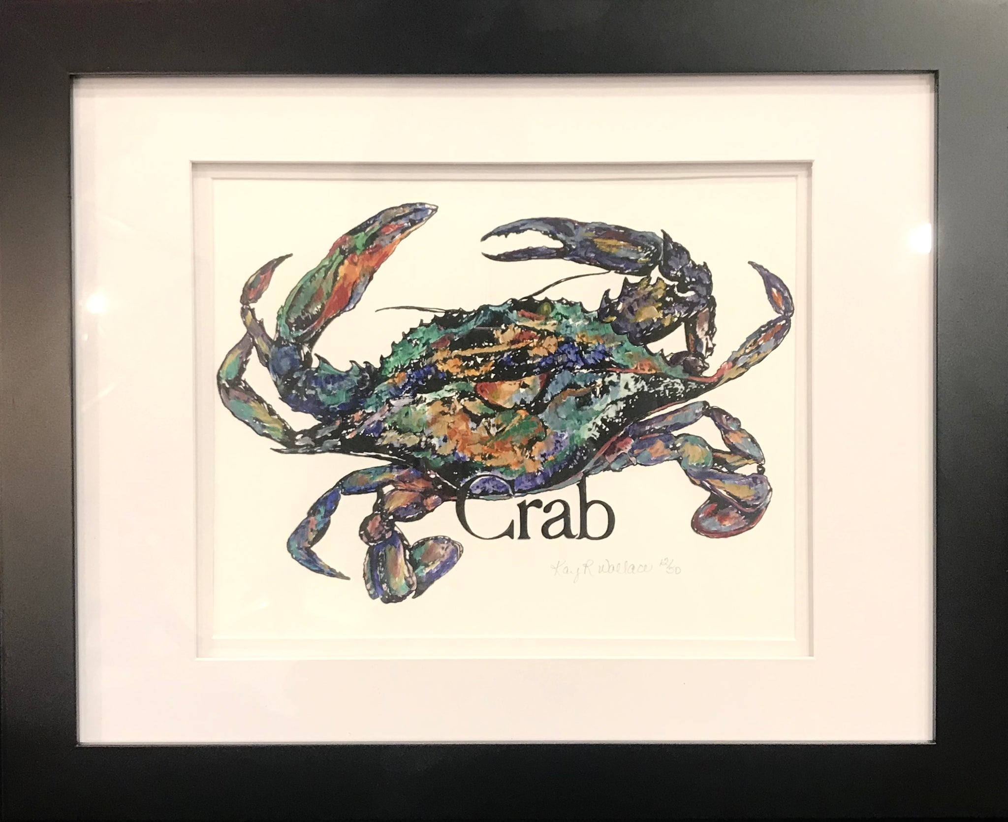 """Crab Print"" Framed to 13x16 by Kay Wallace - 318 Art and Garden"