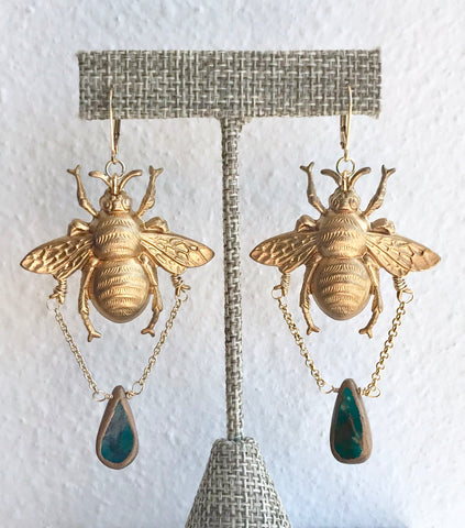 Bee Earrings with Tear Drop Bead - 318 Art and Garden