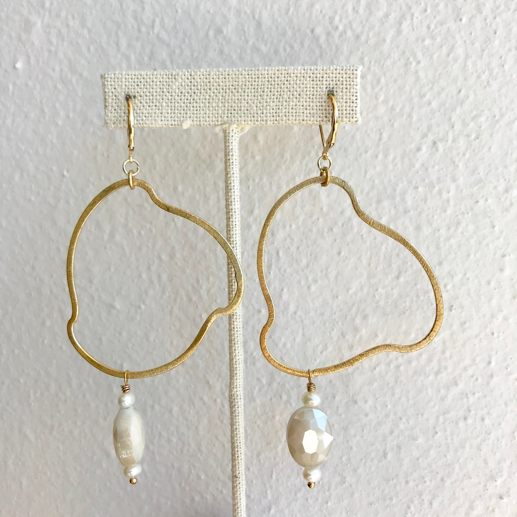 Irregular Hoop with Charm Earrings - 318 Art and Garden