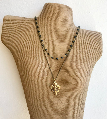 Fleur de Lis Necklace with Rosary Bead Accents - 318 Art and Garden