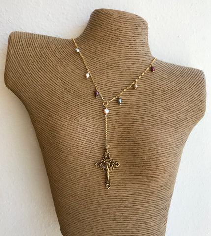 Rosary Inspired Necklace with Pearl Accents - 318 Art and Garden