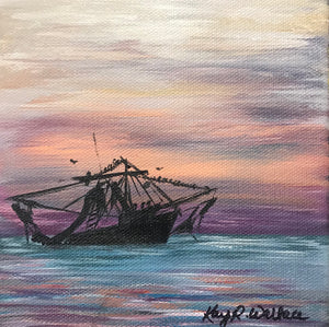 """Shrimp Boat One"" 6x6 - 318 Art and Garden"