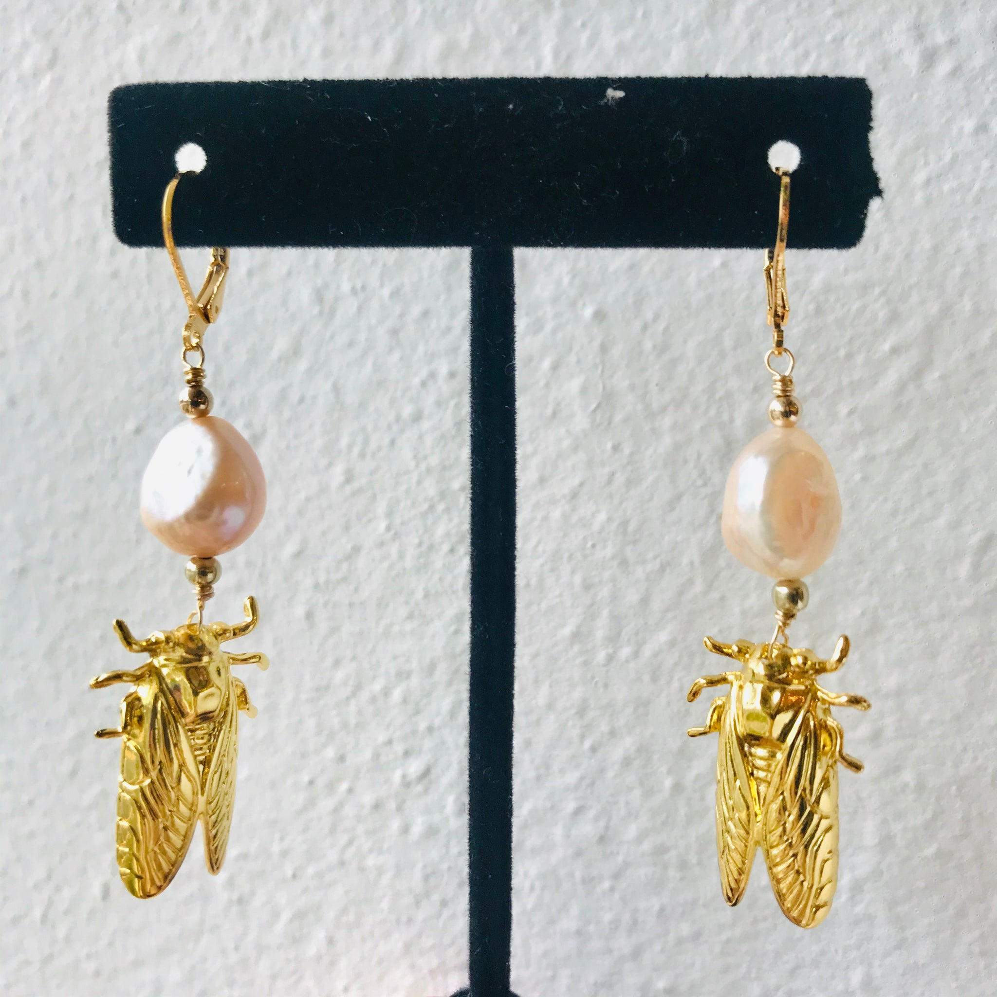 Small Cicada Earrings with Freshwater Pearls - 318 Art and Garden